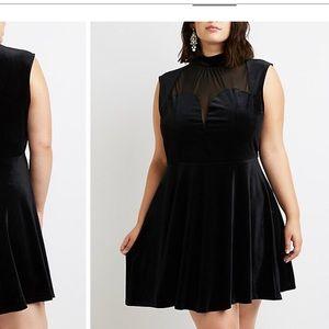 NWT Black Velvet Illusion Neck Dress